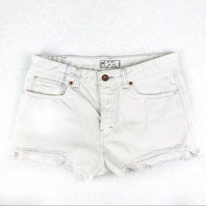 Free People Cut Off High Waist Shorts Denim White